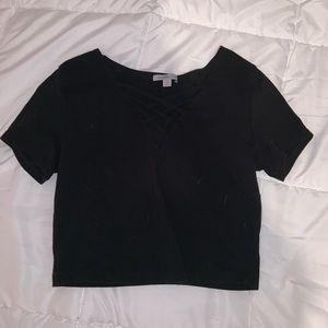 black v- neck crop top